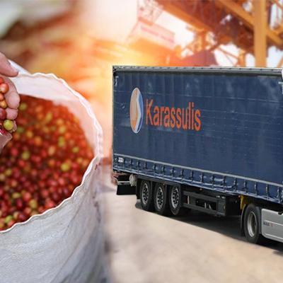 Καρποί και φορτηγό μεταφοράς Karassulis